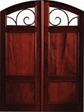 Double Wood Door Iron Entry