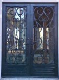 Solid Iron Scroll Double Doors
