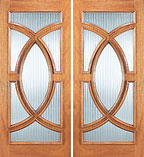 Unique UE-695-B Ellipse Reed Glass Double Door