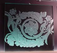 Custom Etched Glass Design - Roman Scroll