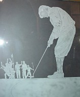 Etched Glass Tee Time Glass Artwork for Golfers