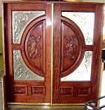 Carved Lion Double Glass Doors