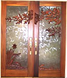 Leaf Flower Design Double Sculptured Doors